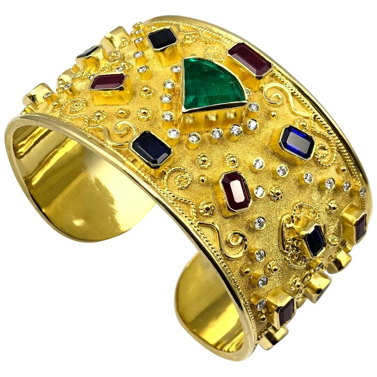 Georgios Collections 18 Karat Yellow Gold Bracelet with Emerald Rubies Sapphires
