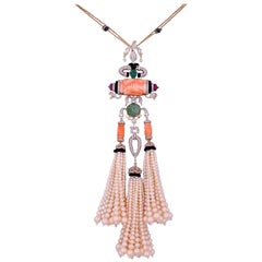 Italian Coral and Pearl 18 Karat Gold Tassel Necklace