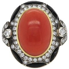 Coral 9.37 Carat Diamond and Onyx Dress Ring