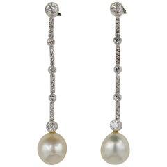 Edwardian Certified Natural Pearl Diamond Platinum Earrings