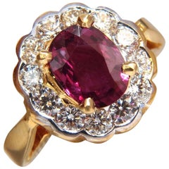 GIA Certified 1.61ct oval cut purple red ruby 1.01ct diamonds ring 18kt