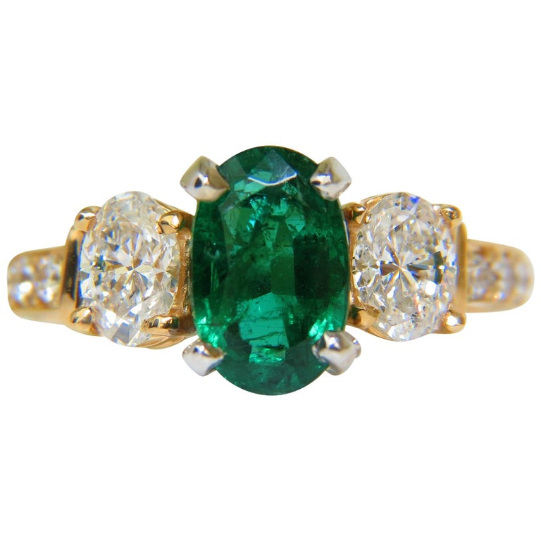 5 65 Carat Zambian Emerald And Diamond Ring For Sale At