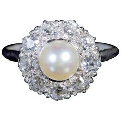 Antique Edwardian Diamond Pearl Ring Platinum Ring, circa 1915