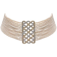 Yoko London Pearl Choker with Yellow and White Diamond Set 18 Karat Gold Clasp