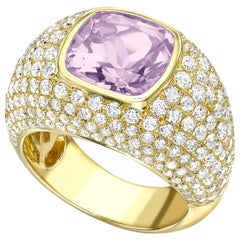 Kiki McDonough 18 Karat Yellow Gold Lavender Amethyst and Diamond Dome Ring