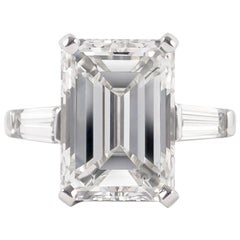 J. Birnbach GIA Certified 7.02 Carat Emerald Cut Three-Stone Ring