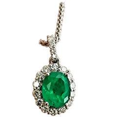 2.40 Carat Natural Colombian Emerald Diamond Pendant Necklace 14 Karat
