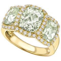 Kiki McDonough 18 Carat Yellow Gold Triple Stone Green Amethyst Cocktail Ring