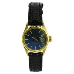 Rolex 18 Karat Ladies Oyster Perpetual with Rare Original Blue Dial