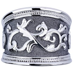 Georgios Collections 18 Karat White Gold and Black Rhodium Byzantine Ring