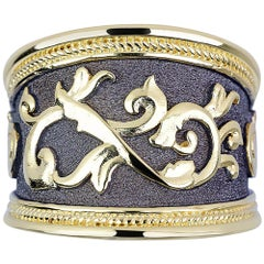 Georgios Collections 18 Karat Yellow Gold and Oxidized Black Rhodium Ring