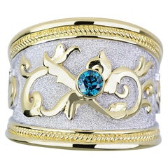 Georgios Collections 18 Karat Yellow Gold Byzantine Ring with 0.20 Blue Diamond