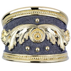 Georgios Collections 18 Karat Yellow Gold Ring With Granulation and Rhodium