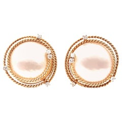 18 Karat Mabe Pearl with Diamonds on Rope Detail Earrings