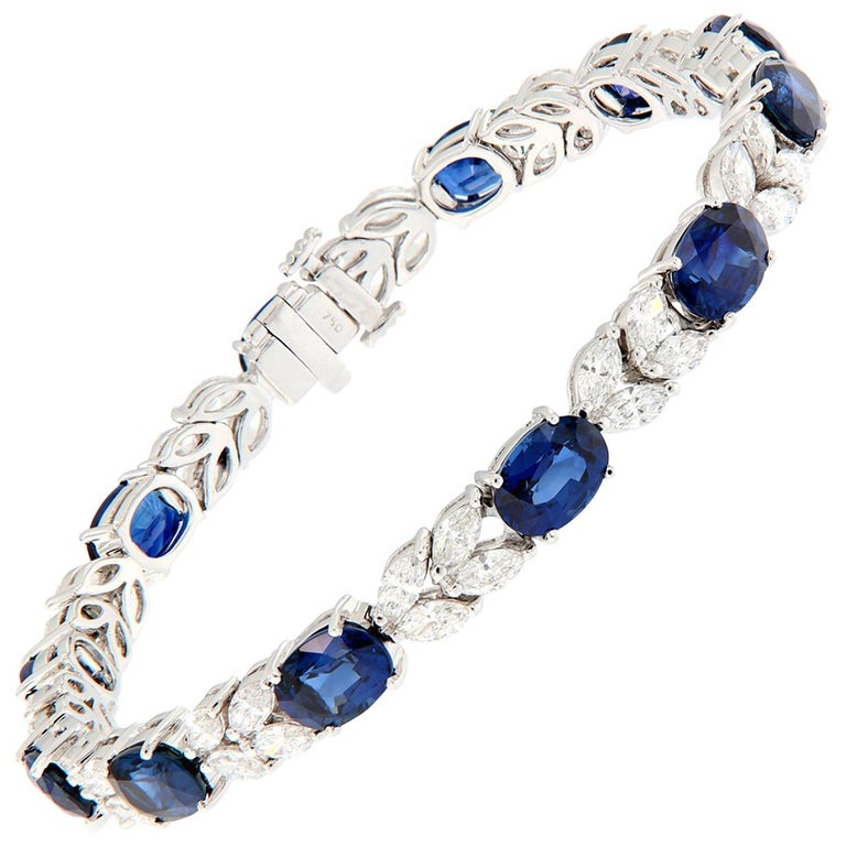 Oval Sapphire Marquise Diamond Gold Bracelet For Sale