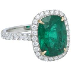 5 Carat Green Emerald Cushion Cut Diamond Halo Ring GIA Certified No Oil