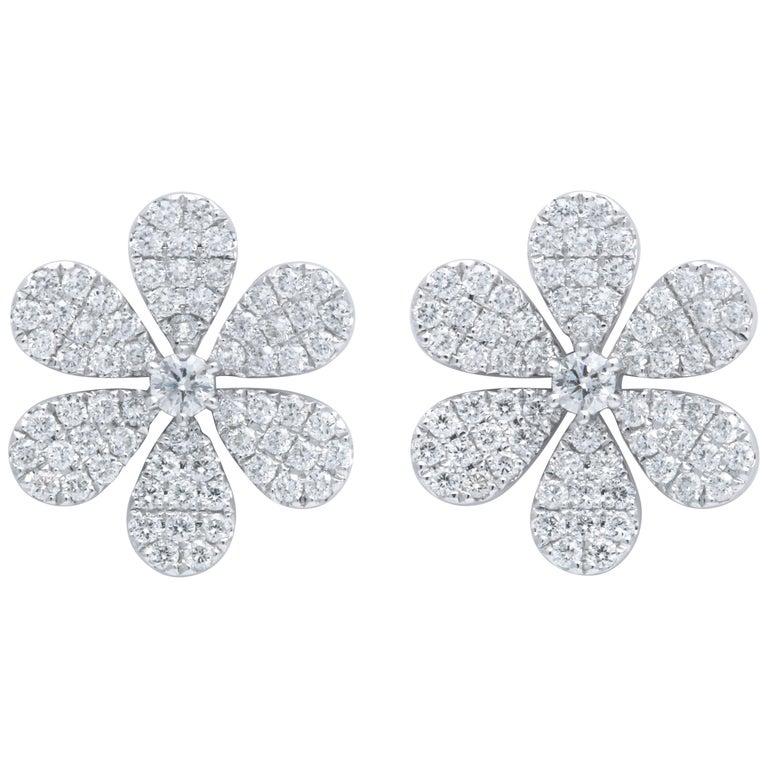Diamond Flower Petal Earrings