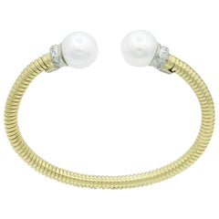 Yellow Gold Cuff Bangle Bracelet with Freshwater Cultured Pearls and Diamonds