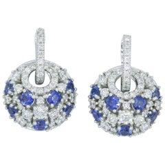 Sapphires and Diamonds Dangle Earrings