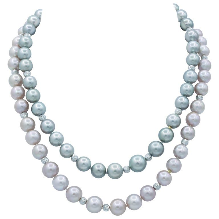 Three-Way Convertible Necklace with Tahitian and Pink Freshwater Cultured Pearls