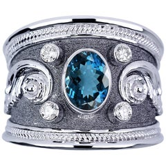Georgios Collections 18 Karat White Gold Diamond Ring with London Blue Topaz