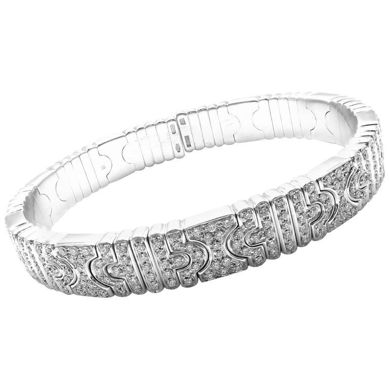 Bulgari Parentesi Pave Diamond White Gold Bangle Bracelet For Sale