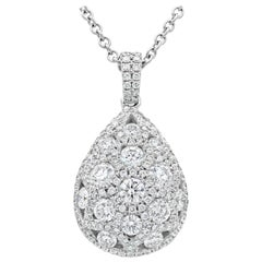 1.79 Carat Cluster Diamond Tear Drop Pendant Necklace