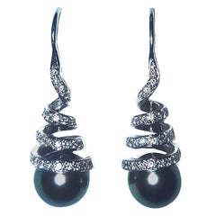 14 Karat Black Pearl and Swirled White Diamonds Pierced Earrings