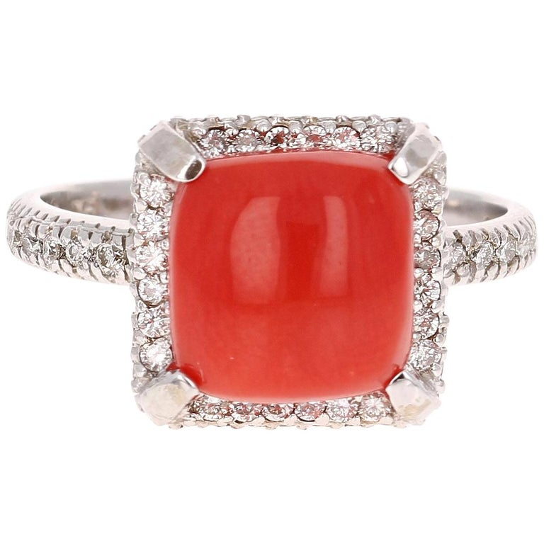 3.90 Carat Coral Diamond White Gold Cocktail Ring
