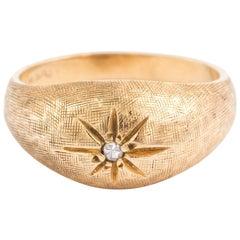 Designer Vintage 14 Karat Yellow Gold Diamond Gypsy Ring
