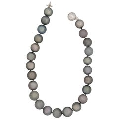 Estate 18 Karat White Gold Black South Sea Pearl with Diamond Ball Clasp Neck