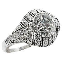 2 Carat GIA Certified Old European Cut Diamond Engagement Ring