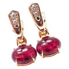 Bulgari Pink Tourmaline Diamond Yellow Gold Earrings