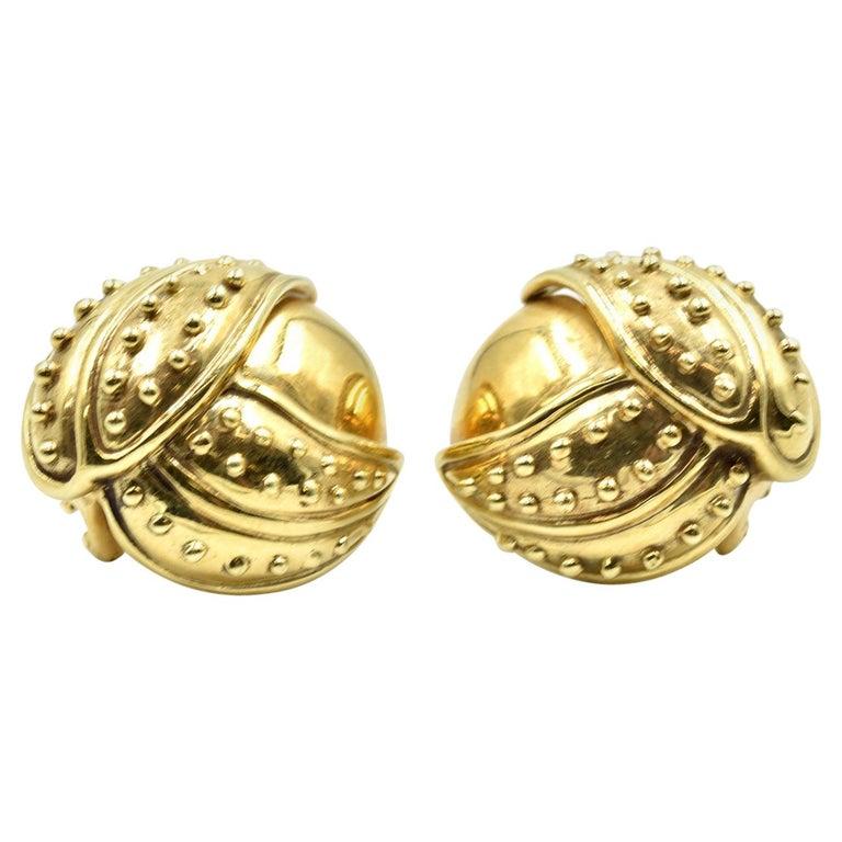 18 Karat Yellow Gold Clip-On Earrings