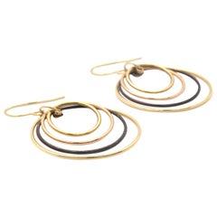 14 Karat Multi-Tone Gold and Black Rhodium Multiple Circle Dangle Earrings