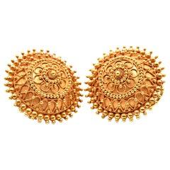 14 Karat Yellow Gold Large Circle Hoop Earrings