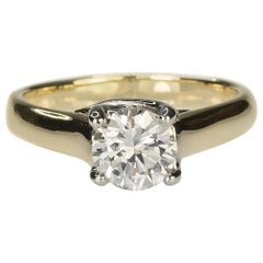 18 Karat and Platinum Ring with GIA Certified 1.07 Carat Round Diamond