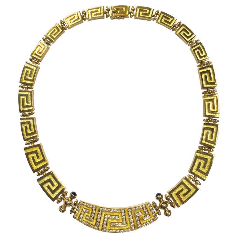 Greek Key Design Gold Necklace At 1stdibs