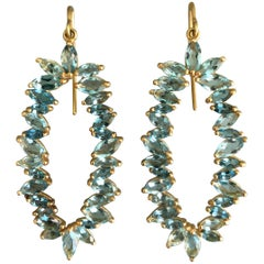 Lauren Harper 7.33 Carat Aquamarine, Gold Earrings