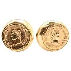 14 Karat Yellow Gold Coin Clip-On Earrings