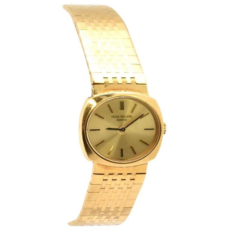 Ladies 18 Karat Yellow Gold Patek Philippe Cushion Watch 4104/1