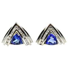2.50 Carat Tanzanite and Diamond Earrings 14 Karat White Gold