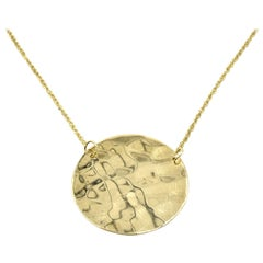 Hammered Plate Necklace 14 Karat Yellow Gold