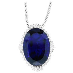 117.24 Carat Oval Tanzanite and White Diamond Necklace
