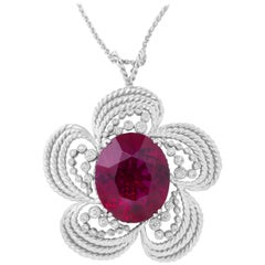 38.97 Carat Oval Rubellite and Diamond Pendant