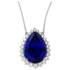 63.75 Carat Pear Shaped Tanzanite & White Diamond Necklace