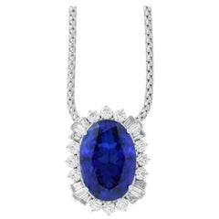 36.86 Carat Oval Tanzanite and White Diamond & Baguette Necklace