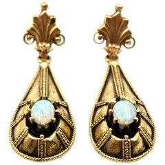Vintage Opal Drop Earrings 14 Karat Yellow Gold