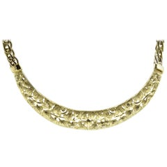 14 Karat Yellow Gold Hand Engraved and Pierced Leaf Style Necklace
