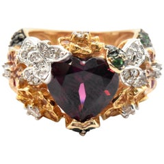 Red Garnet Two-Tone Cocktail Ring with Diamonds, Tsavorites and Sapphires